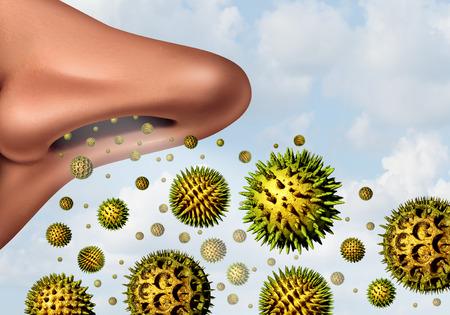 Polline concetto di allergie e febbre da fieno allergie come simbolo medico come illustrazione 3D microscopiche particelle di impollinazione organiche che volano in aria con un grande naso umano respirare come simbolo di assistenza sanitaria di malattia stagionale.