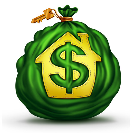 Bank Mortgage symbol as a green money bag with a house or home icon with a dollar signas a financial and economic metaphor for residential credit and real estate business.