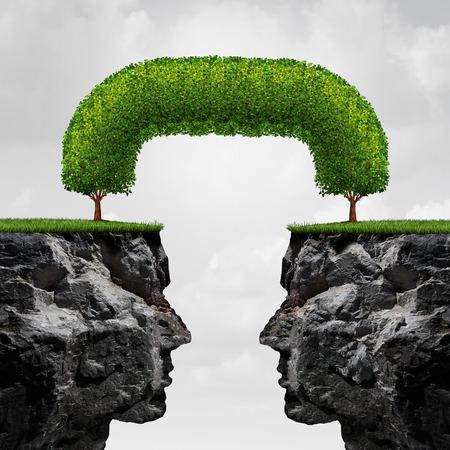 Conexión concepto de negocio como dos 3D ilustración individual acantilados separados conectados entre sí por los árboles que se han fusionado entre sí para formar una unión a largo plazo como un exitoso acuerdo de la metáfora. Foto de archivo