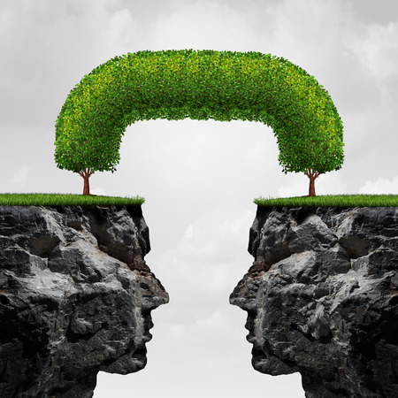 relationships: Connecting business concept as two separate detached 3D illustration cliffs connected together by trees that have merged together to form a long term union as a successful agreement metaphor.