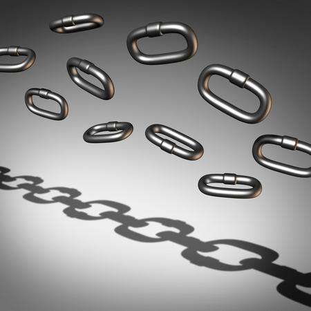 la union hace la fuerza: Cadena busuness abstracto concepto de éxito y un símbolo de la organización o para organizar en una unión de fuerza como un grupo de enlaces ilustración 3D individuales se unen a la solidaridad. Foto de archivo