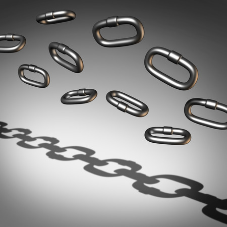 business symbols metaphors: Chain abstract busuness success concept and a symbol of organization or to organize in a union for strength as a group of individual 3D illustration links joining together for solidarity.
