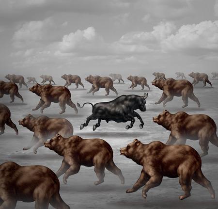 Bourse prévisions positives concept financier et symbole financier individuel contrarian comme un encierro courageux dans le sens opposé d'un groupe d'ours comme un symbole de la tendance de l'investissement.