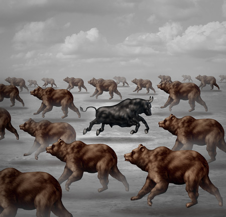 bearish market: Stock market positive forecast financial concept and contrarian individual financial symbol as a courageous bull running in the opposite direction of a group of bears as an investing trend symbol.