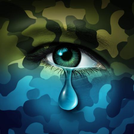 depressione militare concetto di salute mentale e vittima della guerra come simbolo un pianto lacrima occhio umano con trasformante mimetica verde in uno stato d'animo blu come una metafora per l'assistenza sanitaria veterano o problemi di combattenti.