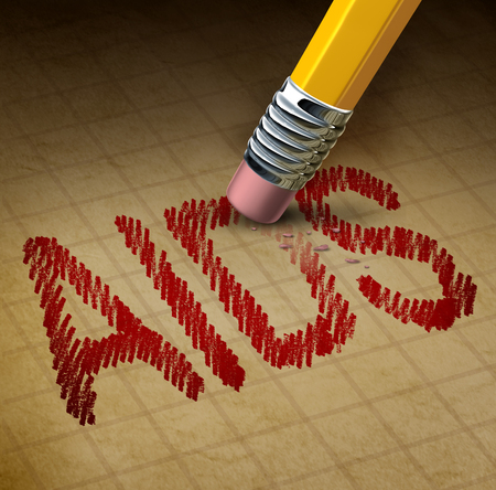 aids virus: Aids fight and HIV or human immunodeficiency virus concept as a 3D illustration of a pencil eraser erasing text as a healthcare or health care metaphor for the treatment and research in a cure for the disease. Stock Photo