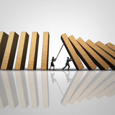 domino effect: Corporate solution stopping the domino effect business concept as a businesswoman and businessman intervene to stop falling 3D illustration dominos as a success metaphor for intervening for security.