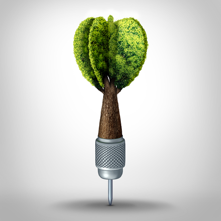 Environmental goal and green marketing success as a 3D illustration dart with a tree growing shaped as a target arrow as a business investment symbol or ecology conservation goals. Stok Fotoğraf