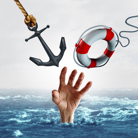 help symbol: life and death concept and sink or swim symbol as a drowning person reaching out for help but is offered two options opposite options as a heavy anchor or a light lifesaver as a 3D illustration.