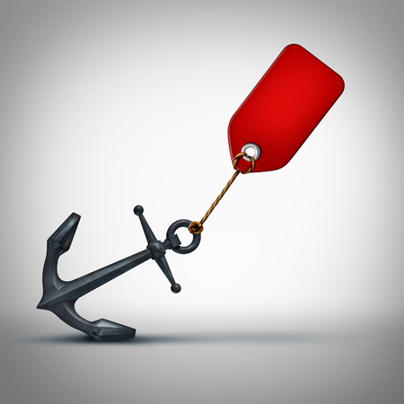 financial burden: Sales problem business concept as a price tag pulling on a heavy anchor as a financial crisis metaphor and slow economy or sluggish retail selling symbol as a 3D illustration icon.