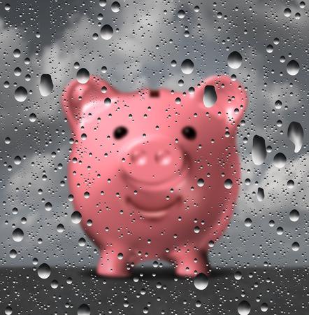 fondos negocios: fondo de emergencia como un dinero de la hucha sosteniendo destinado a desafíos financieros como una ilustración 3D de una hucha en forma de cristal con gotas de agua o gotas.