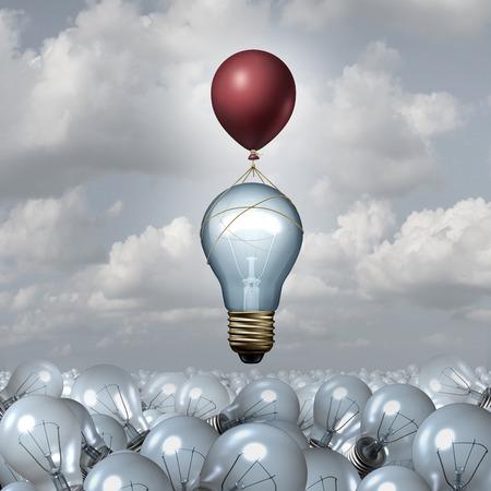pensamiento creativo: Concepto de pensamiento innovador como un grupo de bombillas de luz ilustración 3D en un vasto paisaje como una bombilla se levanta con la ayuda de un globo como una metáfora para la motivación creativa innovación inspiración.