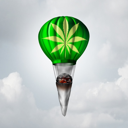 stoned: Marijuana joint concept as a rolled pot lit up with smoke coming out and tied to a rising 3D illustration air balloon as a metaphor for getting high on a recreational drug or the rise of medicinal cannabis symbol.