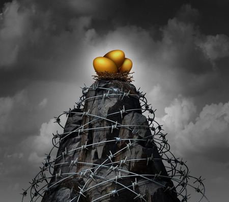 restricted access: Retirement savings security investment business concept as a high mountain cliff wrapped with dangerous barbed wire as an insurance symbol for protecting assets as a 3D illustration.
