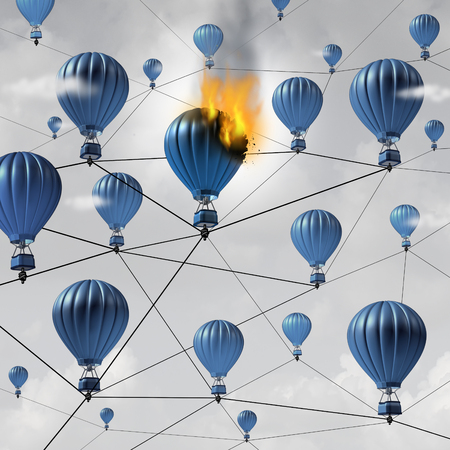 technology symbols metaphors: Network connection failure business concept as a burning air balloon burning up in a group of connected air balloons breaking the link in a communication structure as a 3D illustration. Stock Photo