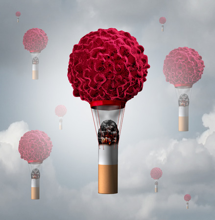 cancerous: Smoking cancer health care concept as a human cancer cell shaped as an air balloon with a lit smoking tobacco cigarette butt creating smoke and heat for the cancerous symbol to rise as a 3D illustration.