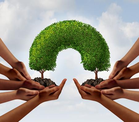juntos: Grupo de concepto de negocio de éxito como dos grupos de diversas personas que hacen una conexión con la ilustración de árboles en 3D que enlazan juntos como una metáfora de la cooperación global o el trabajo en equipo medio ambiente.
