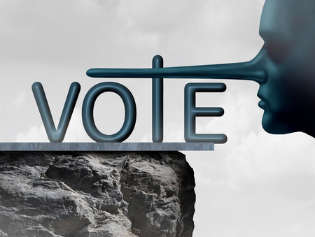 liar: Vote liar and voting deception symbol as a human with a long lying nose as a metaphor for dishonesty and voter fraud in an election. Stock Photo