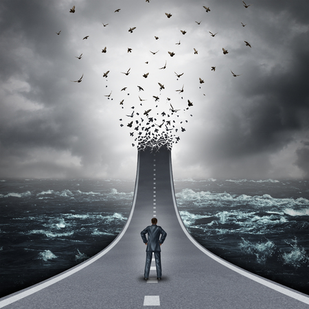 Business success abstract concept as a businessman standing on an upward 3D illustration road tranforming into a group of flying birds as a metaphor for spreading out and expanding global markets.