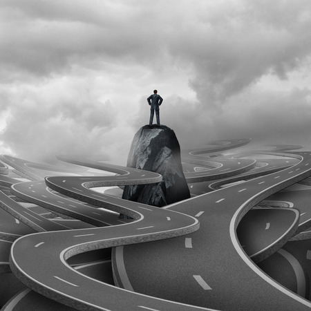 adversity: Lost business concept as a businessman standing on a rock with a group of twisted 3d illustration roads and pathways as a metaphor for corporate or personal adversity.