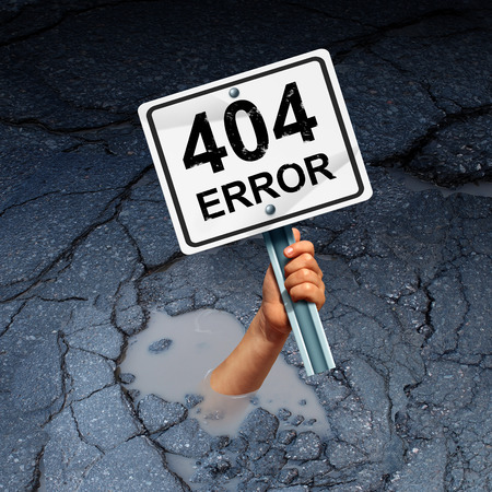 Error 404 page not found concept as an internet technology symbol of technical support for web page failure or search problem as a hand drowning in a hole holding a warning sign 3D illustration.