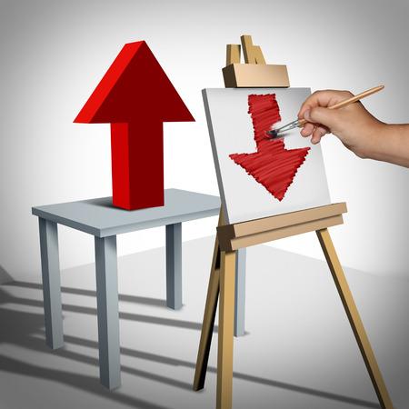 actitud: Pesimista psicología negativa y el pensamiento fracaso como una persona que busca en una ilustración 3D de flecha hacia arriba y lo interpreta en la lona como una flecha hacia abajo como una metáfora de vista de negocio triste sombrío.
