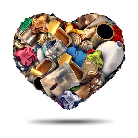 ferraille: Recyclez coeur symbole de recyclage et de réutilisation des plastiques de la ferraille et le concept de papier comme une illustration sur un fond blanc comme une icône pour l'amour de conservation.