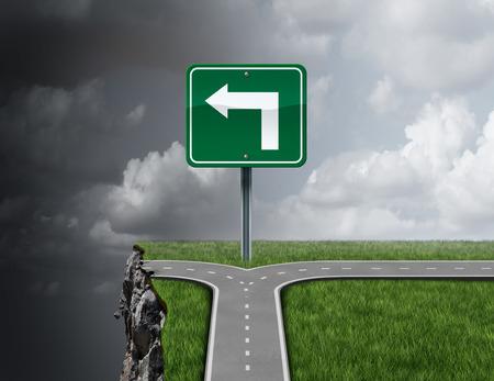 concept de conseils d'affaires Bad comme un chemin avec une illustration de fourche 3D sur la route de guidage à tort d'une falaise comme une métaphore de la consultation financière incompétente ou frauduleuse ou la direction de la mauvaise gestion. Banque d'images