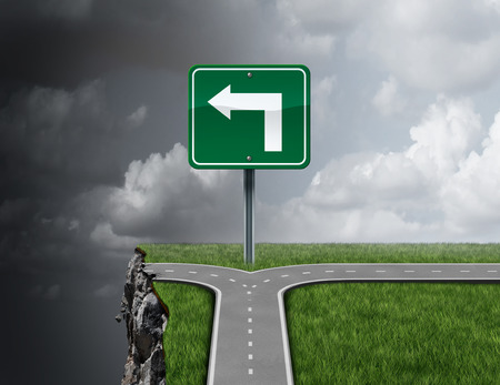 Slechte zaken advies begrip als een pad met een 3D-afbeelding vork in de weg ten onrechte het begeleiden van een klif af als een metafoor voor incompetent of frauduleuze financiële overleg of wanbeheer richting. Stockfoto
