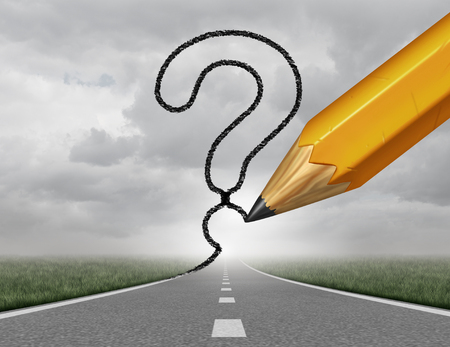 Business path questions road to change and corporate career pathway as a rising highway with a 3D illustration pencil drawing a question mark on a sky representing financial direction guidance and looking for answers.