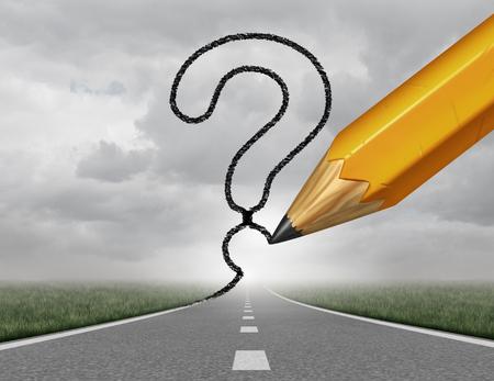 Zakelijke pad vragen weg te veranderen en zakelijke carrière pad als een rijzende snelweg met een 3D-afbeelding potloodtekening een vraagteken op een hemel die financiële richting begeleiding en op zoek naar antwoorden.