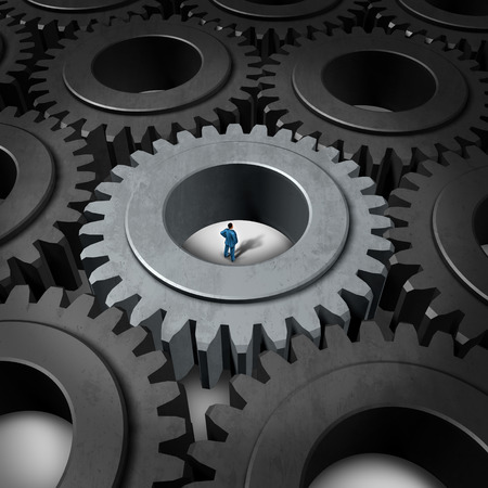 metaphoric: Business prison concept or corporate insider symbol as a businessman inside a giant gear or cog as a metaphor for limited opportunity or technology challenge as a 3D illustration career stress icon.