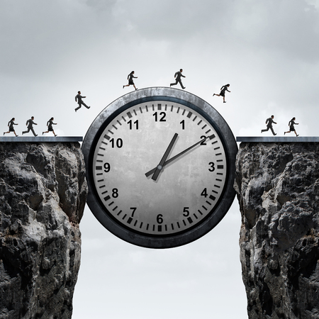 schedule appointment: Business time concept as a group of running businessmen and businesswomen using a giant clock to cross over a cliff as a bridge as a metaphor for schedule and appointment speed as a 3D illustration. Stock Photo