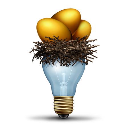 Pensioensparen idee als een financiële concept voor de financiën planning als een gouden nest eieren rusten in een lichte bilb als banking en vermogensbeheer oplossing als een 3D-afbeelding.