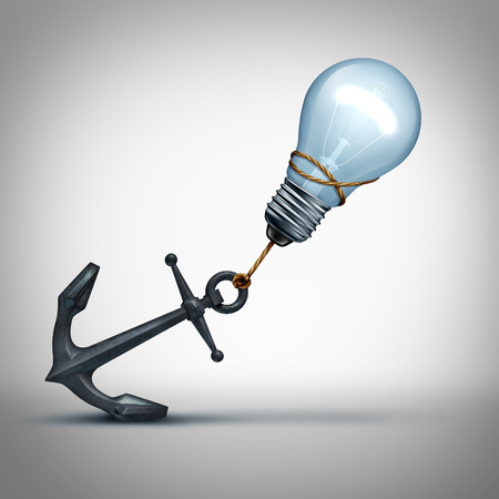 overcoming: Idea trouble concept as a light bulb pulling a heavy anchor as a creative struggle and problem metaphor for overcoming thinking obstales as a 3D illustration.