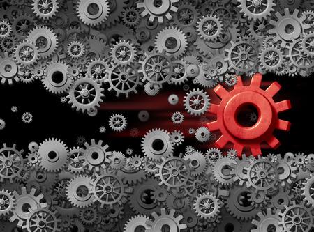 Energía de la energía del negocio de la tecnología de la innovación desplazando a la industria de edad como un elemento de cambio de negocio como una ilustración rojo del engranaje 3D destruir y perturbar el desplazamiento de la industria establecida. Foto de archivo - 55347972