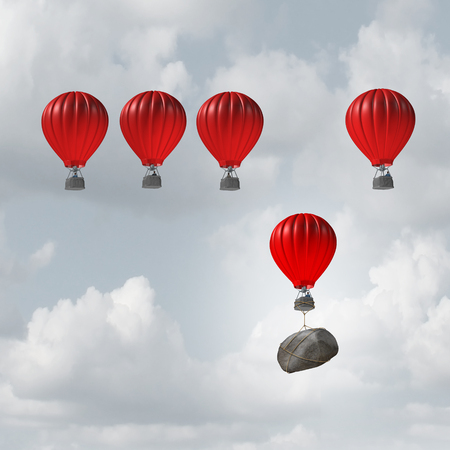 Competitive struggle and business disadvantage or disability concept as a group of hot air balloons racing to the top but an individual laggard attached to a heavy rock boulder struggling to compete as a 3D illustration.