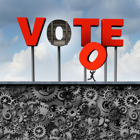 undemocratic: Stolen vote political election corruption concept as a politician or voter stealing a letter from a voting sign as a 3D illustration for campaign corruption and illegal ballot  activity at the polls as undemocatic.