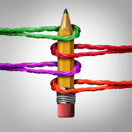 hold up: Creative support network concept as a 3D illustration pencil supported by a group of ropes looped together to hold up the educational and office tool as a social and society cooperation metaphor.