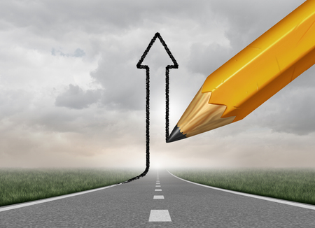 way up: Successful Business direction and success control symbol as a pencil drawing an upward 3D illustration arrow from a straight road as a motivation metaphor to take authority of your path to succeed. Stock Photo