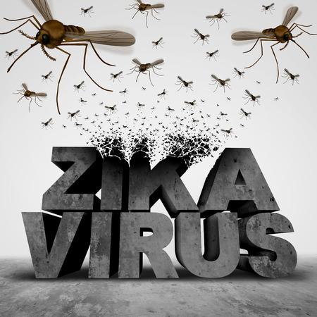 salud publica: Zika concepto de peligro del virus como un transformador texto ilustraci�n 3D de un grupo de enjambre de mosquitos que propagan enfermedades infecciosas como un riesgo para la salud p�blica brote epid�mico y el s�mbolo de miedo.