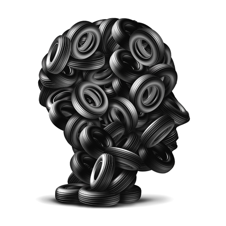 winter tire: Car tire concept as a group of rubber wheels shaped as a human head as an auto mechanic repair symbol on a white background as a 3D illustration transportation icon.
