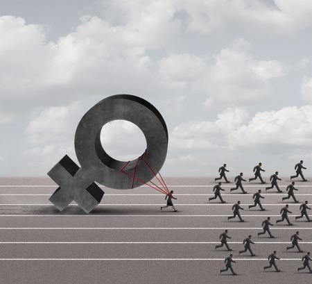 不当なジェンダー バイアス アイコンとして実行中のビジネスマンや男性のグループの後ろに落ちる重い女性 3 D 図記号を引っ張っての負担と苦労す 写真素材