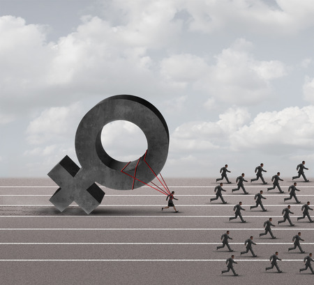 sex discrimination: Sexism descrimination concept as a struggling woman with the burden of pulling a heavy female 3D illustration symbol falling behind a group of running businessmen or men as an unfair gender bias icon.