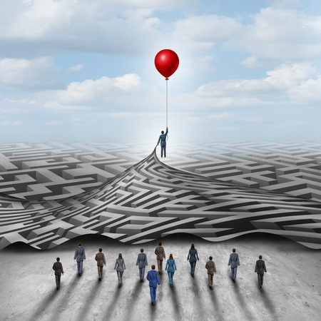 metaphors: Employee leadership solution and workforce leader management with a businessman holding a balloon lifting a complicated 3D illustration maze opened up for a group of employees. Stock Photo