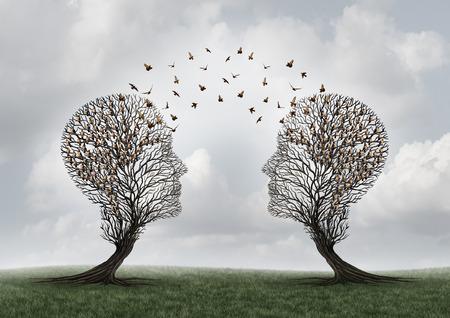 Conceito de comunica��o e comunica��o de uma mensagem entre duas �rvores em forma de cabe�a com p�ssaros empoleirados e voam para o outro como uma met�fora para o trabalho em equipe e relacionamento comercial ou pessoal com elementos ilustra��o 3D.