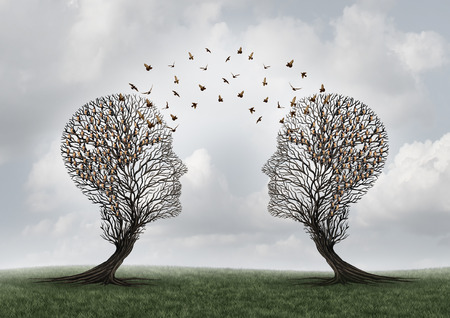 Concept of communication and communicating a message between two head shaped trees with birds perched and flying to each other as a metaphor for teamwork and business or personal relationship with 3D illustration elements. Stok Fotoğraf