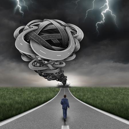 Concepto de negocio peligro entrante y la ruta riesgo financiero como un grupo de 3D ilustración torcido en forma de carreteras como un tornado peligroso con un empresario audaz caminando hacia el riesgo y sin miedo como un símbolo de coraje. Foto de archivo - 55630141