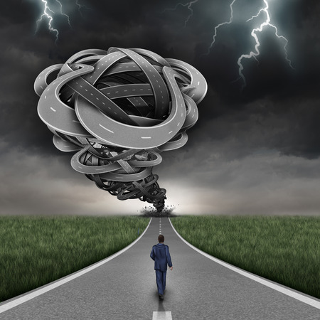 Incoming danger business concept and financial risk path as a group of 3D illustration twisted roads shaped as a dangerous tornado with a bold businessman walking towards the risk without fear as a symbol of courage. Stock Photo