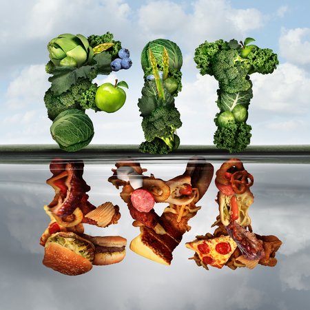 calorie: Eating lifestyle change concept fat or fit as a group healthy green fruits and vegetables reflecting greasy unhealthy food  as an icon for diabetes or diabetic diets with 3D illustration elements.